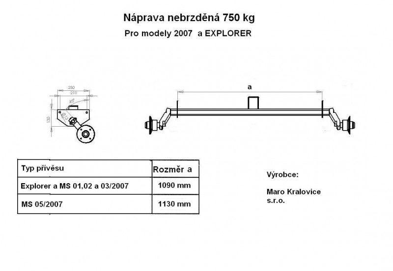 Nápravy pro modely MS 2007 a Explorer